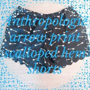 Anthropologie arrow-print shorts w/ scalloped hem