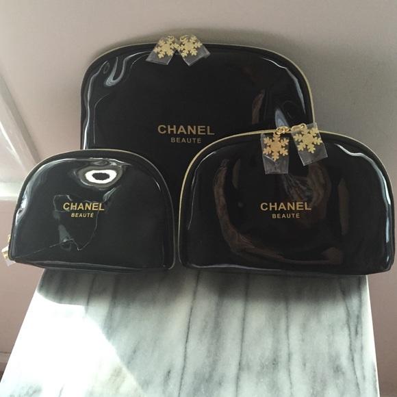 e21e441fbb33 CHANEL Accessories | Beaute Cosmetic Bag Set 3 Sizes Black | Poshmark