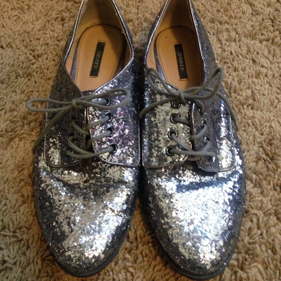 Forever2 Silver Glitter Oxford Shoes