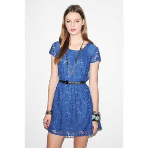 Blue lace dress urban outfitters
