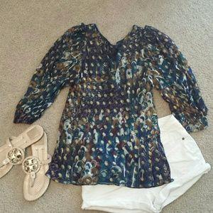 Gracia Tops - Gracia pecock colored bishop sleeve blouse