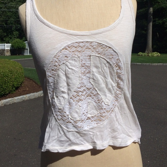 American Eagle Outfitters Tops Crochet Peace Sign Tank Poshmark