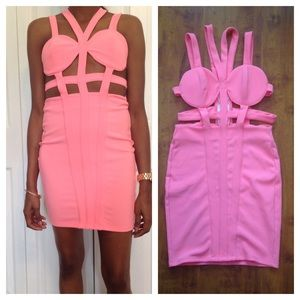 Nasty Gal Pink Commotion Caged Dress