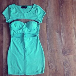 Nasty Gal Bright Turquoise Exposed Bustier Dress