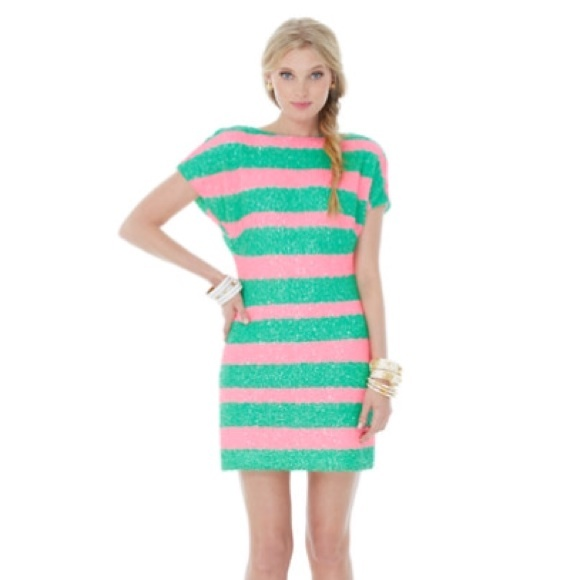 bbf3efab805 Lilly Pulitzer Pink   Green Sequin Dress