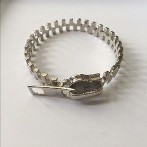 Silver zipper bangle bracelet