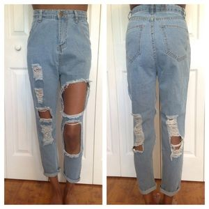Choie's High Waisted Distressed Boyfriend Jeans