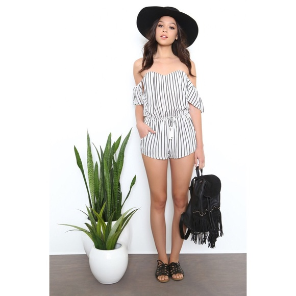 4d0e7428b9d Black White Striped Off The Shoulder Romper NWT