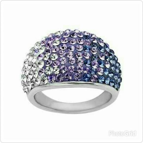 Swarovski Crystal Ombre Pave Ring .925 SS 04d43909dd