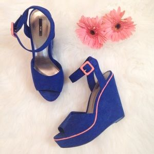 Forever 21 Shoes - Bright Blue & Neon Pink Wedges