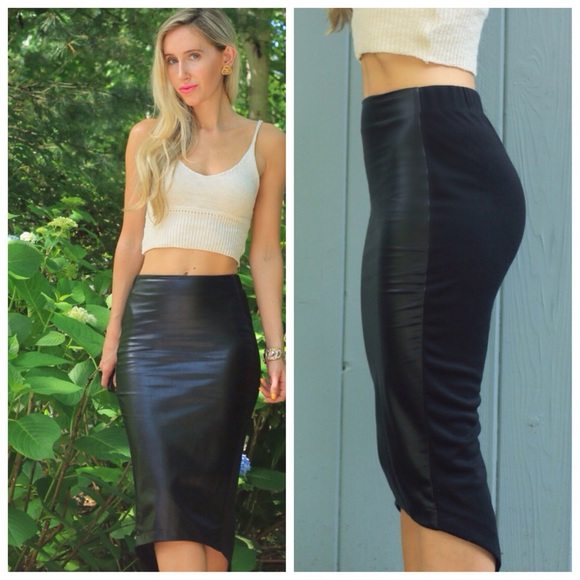 Boutique - SOLD Black Faux Leather Pencil Skirt from Kristin's ...