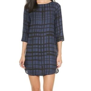 Black and blue shift dress