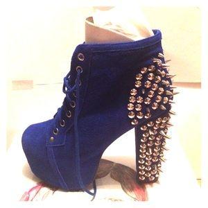Blue Suede Silver Spike Lita Boot