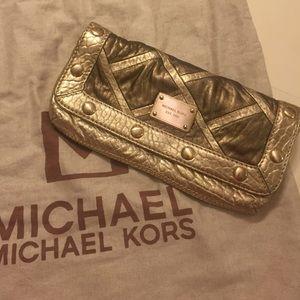 *Authentic* Michael Kors gold clutch