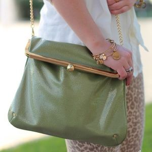 Handbags - Green Top-Clasp Clutch Crossbody