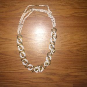 White & Gold Chain Link Necklace