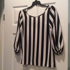Tops - Black and white striped blouse with bow back