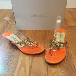 Jimmy Choo Orange Kitten Heel Sandals