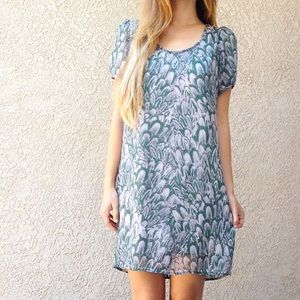 | new | green printed dress