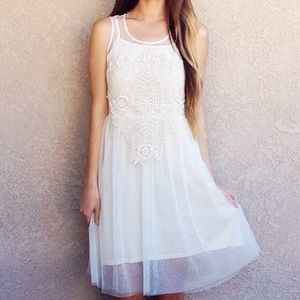 | new | ivory netted dress