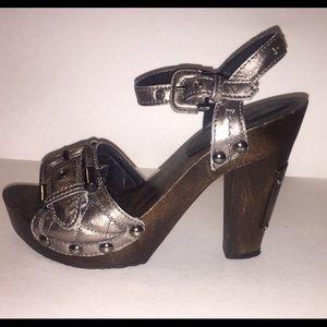 Burberry Shoes - Burberry Metallic Clog Heels