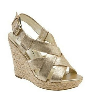 Jessica Simpson Shoes - $18 FINAL! Jessica Simpson Metallic Wedge Sandals