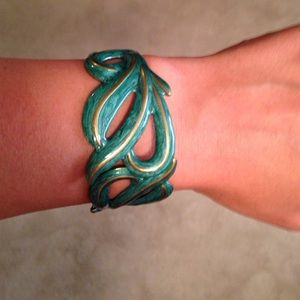 Accessories - Teal and gold bracelet.