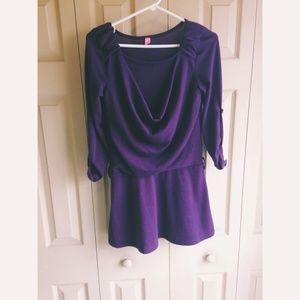 Dresses & Skirts - Purple draped sweater dress