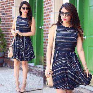 Maison Jules Dresses & Skirts - Dotted & Striped Flare Dress