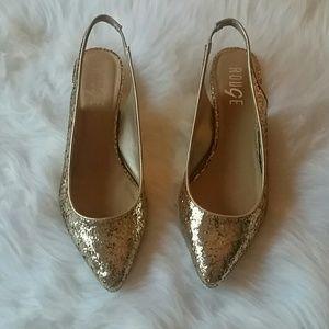 Gold Sequin Kitten Heels