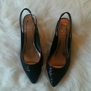 Black Sequin Kitten Heels
