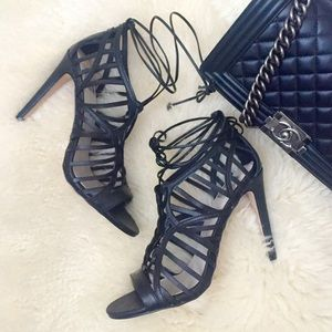 ⬇️Last Chance⬇️ Black Lace Up Heels