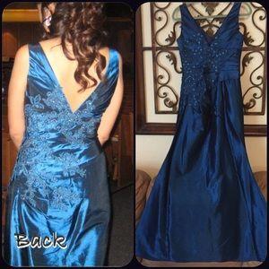 Mermaid Metallic Teal Gown