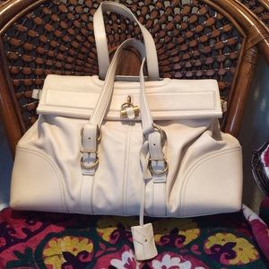 Auth Yves Saint Laurent YSL Leather Flap Top Tote