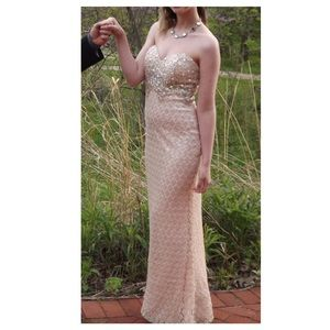 Elegant Peach Prom Dress