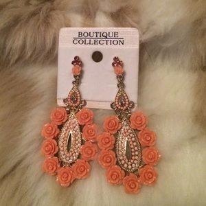 Vintage flower earrings with rhinestones