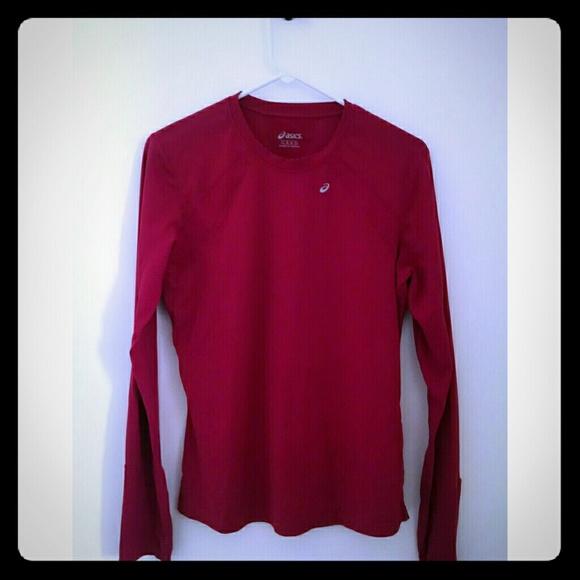 60 off asics tops asics long sleeve running shirt l hot for Hot pink running shirt