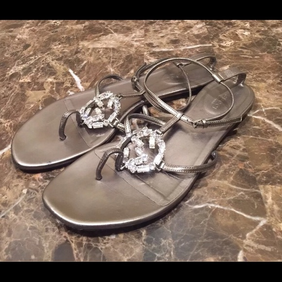 e384491d638 Gucci Shoes - Gucci Crystal GG Logo Metallic Thong Sandals