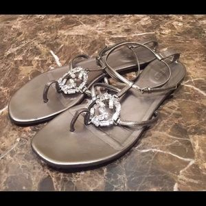 2807294ec36d Gucci Shoes - Gucci Crystal GG Logo Metallic Thong Sandals
