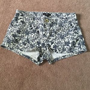 Navy and Tan Floral Shorts