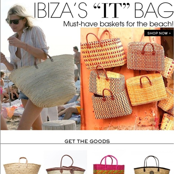 71% off Handbags - 💚 Straw & leather handle beach bag from ...