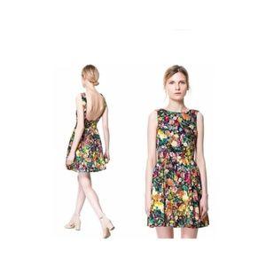 Zara Pleated Floral Open Back Dress