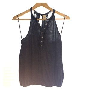 Free People Grey Tank w/Black Lace & Button Detail