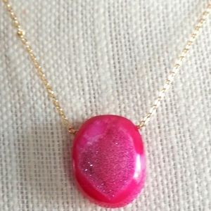 Purple Natural Druzy Stone Necklace