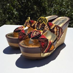 Vince Camuto Shoes - Vince Camuto Beaded Tribal Landry Wedge Sandals 8
