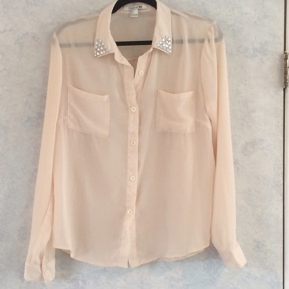 Forever 21 Tops Nude Button Down Jeweled Collar Blouse Poshmark