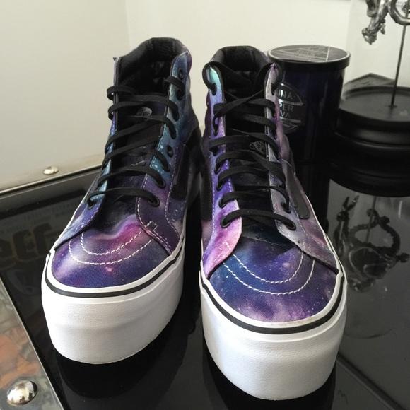 22eeb0b0ebd3 Cosmic Sk8-Hi Vans Galaxy Print Platforms Size 8. M 5589c88f54f0a8061700578b