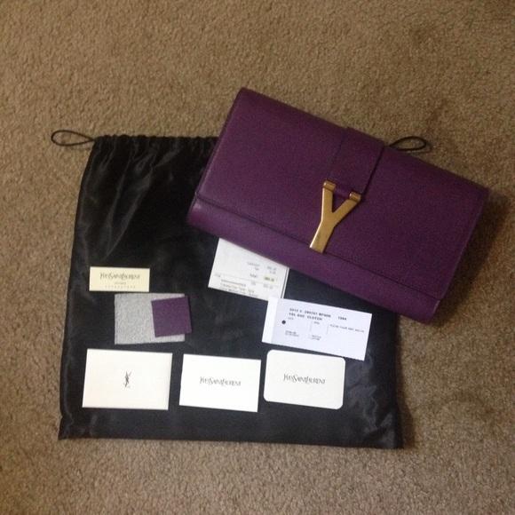 34568d5378df Authentic new YSL Yves Saint Laurent purple clutch