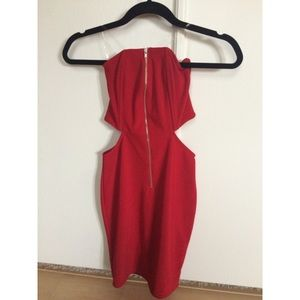Red Cut Out Zipper Fitted Dress