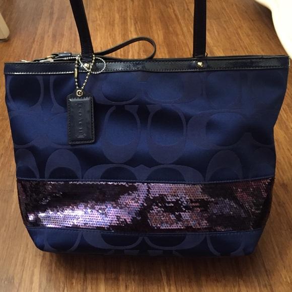 63165952b655 Coach Handbags - Coach midnight dark navy blue sequin purse tote